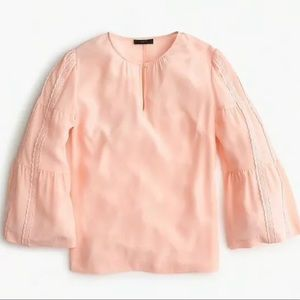 J Crew Peach Embroidered Bell-Sleeve Silk Blouse